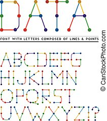 Font with letters composed of lines and points. Vector ...