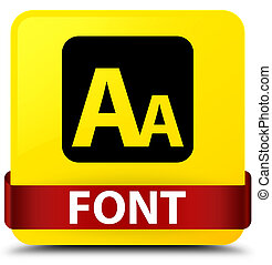 Font yellow square button red ribbon in middle
