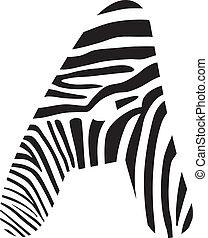 Font zebra, letter A