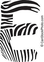Font zebra, letter E