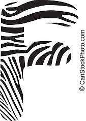 Font zebra, letter F