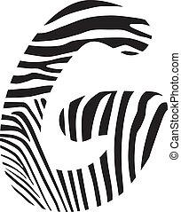 Font zebra, letter G