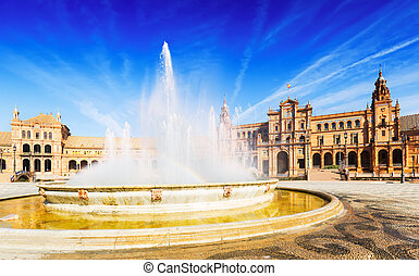 Fontain at Plaza de Espana in sunny day. Seville - Fontain...
