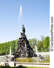 fontaine, château, herrenchiemsee, parc