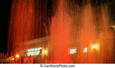 fontaine, coloré, nuit