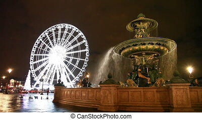 Fontaine des Mers at Place de la Concorde and Lighted Ferris wheel