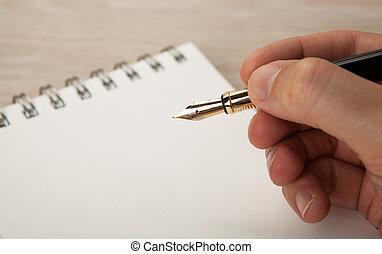 fontaine, doré, agenda, stylo, main
