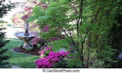 fontaine eau, jardin, coloré