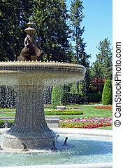 fontaine eau, parc, jardin