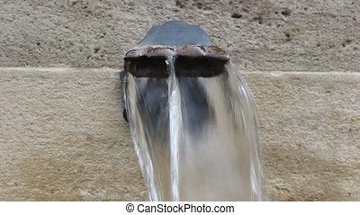 fontaine, fluxs, vieux, eau, rustique