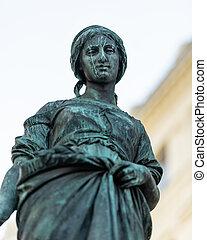 fontaine, girl, oie, statue, vienne