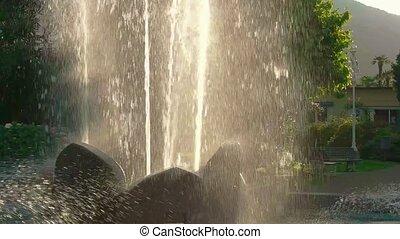 fontaine, lent, motion., ruisseaux