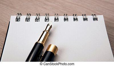 fontaine, papier, bloc-notes, stylo