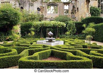 fontaine, sudeley, jardin, château, &