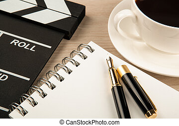 fontaine, tasse, battant, film, agenda, café, stylo