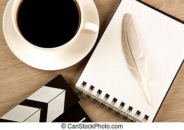 fontaine, tasse, battant, film, agenda, café, stylo, vue,...