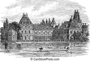 Fontainebleau Palace in Paris, France, vintage engraving -...