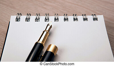fontana, carta, blocco note, penna