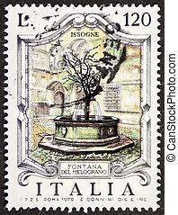 Fontana del Melograno postage stamp - ITALY ? CIRCA 1979: a...