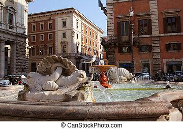 Fontana di Piazza Colonna on Square Column. Rome. Italy.