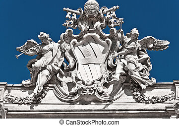 Architectural detail of fontana di Trevi, Rome, Italy, he largest Baroque fountain in the city.