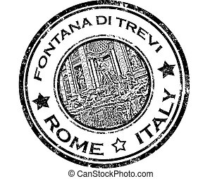 grunge rubber stamp with fontana di trevi and word Rome, Italy