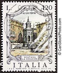 Fontana La Bollente postage stamp - ITALY ? CIRCA 1979: a...
