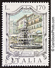 Fontana Madonna Verona postage stamp - ITALY ? CIRCA 1976: a...