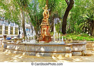 fontana, parco, -, locali, di, valencia