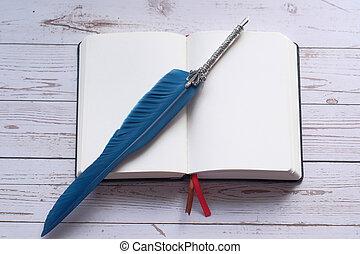 fontana, quaderno, aperto, tavola, penna