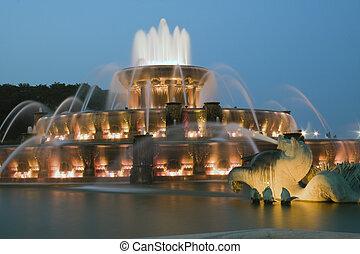 fontanna buckinghama, w, chicago