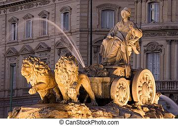 fontanna, hiszpania, madryt, cibeles