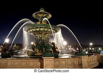 fontanna, na, miejsce de la concorde, w, paryż, w nocy, francja