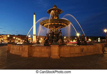 fontanna, na, przedimek określony przed rzeczownikami, miejsce de la concorde, w, paryż, przez, noc, francja