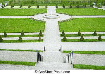 &, fontanna ogród