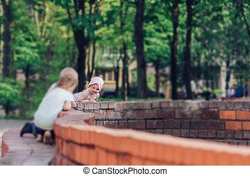 fontanna, spoczynek, dzieci, dzień, rodziny, lato, młody