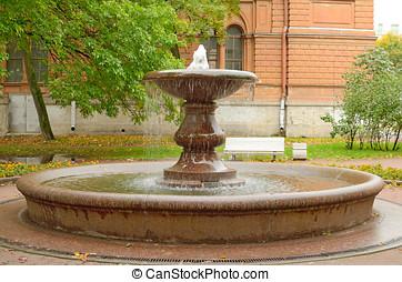 fontanna, w mieście, park.