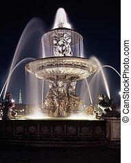 fontanna, w nocy, paryż, france.