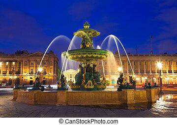 fontanna, w, paryż, w nocy