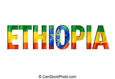 fonte, bandeira, ethiopian, texto