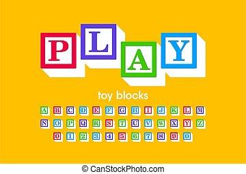 fonte, blocos, brinquedo