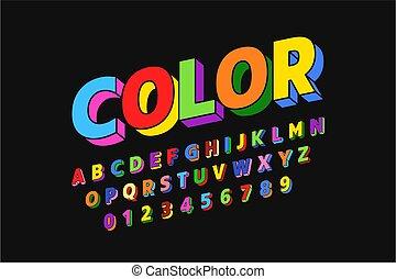 fonte, coloridos, desenho