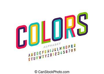 fonte, coloridos, estilo, modernos