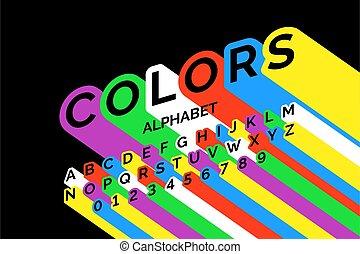 fonte, desenho, coloridos