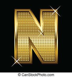 fonte, dourado, carta n, tipo