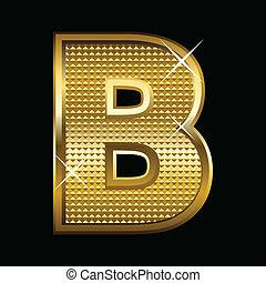 fonte, dourado, letra b, tipo