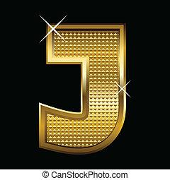 fonte, dourado, letra, j, tipo
