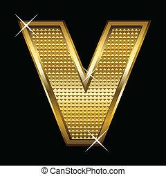 fonte, dourado, letra, tipo, v