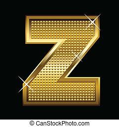fonte, dourado, letra, tipo, z