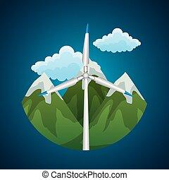 fonte energia, paisagem, pico, areje turbina, renovável